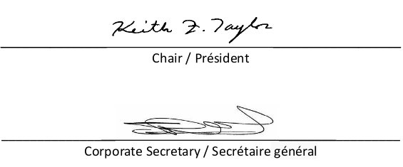 Signatures of the Chair and Corporate Secretary