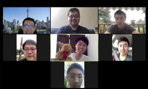 Screenshot of Math Team Canada Members at the virtual Opening Ceremony