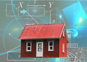 Red house on a mathematical background